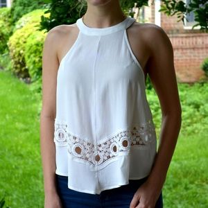 ASTR the label white halter tank with crochet lace